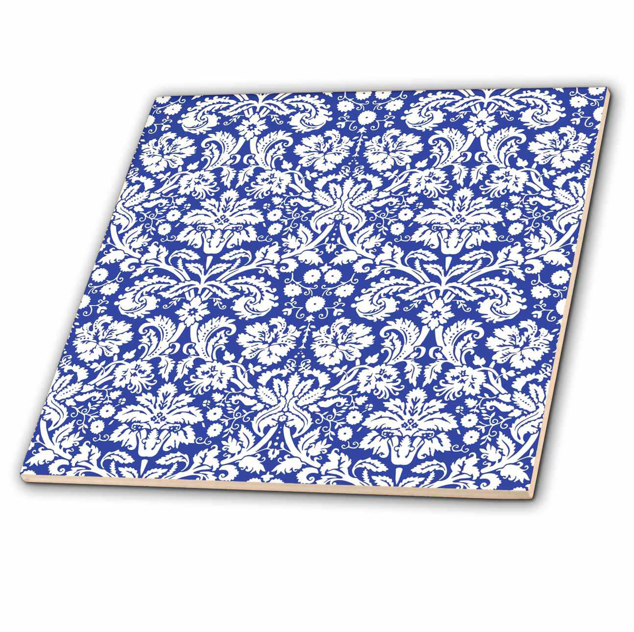 3dRose Royal blue and white damask pattern - stylish elegant Victorian vintage French floral swirls - navy - Ceramic Tile, 4-inch