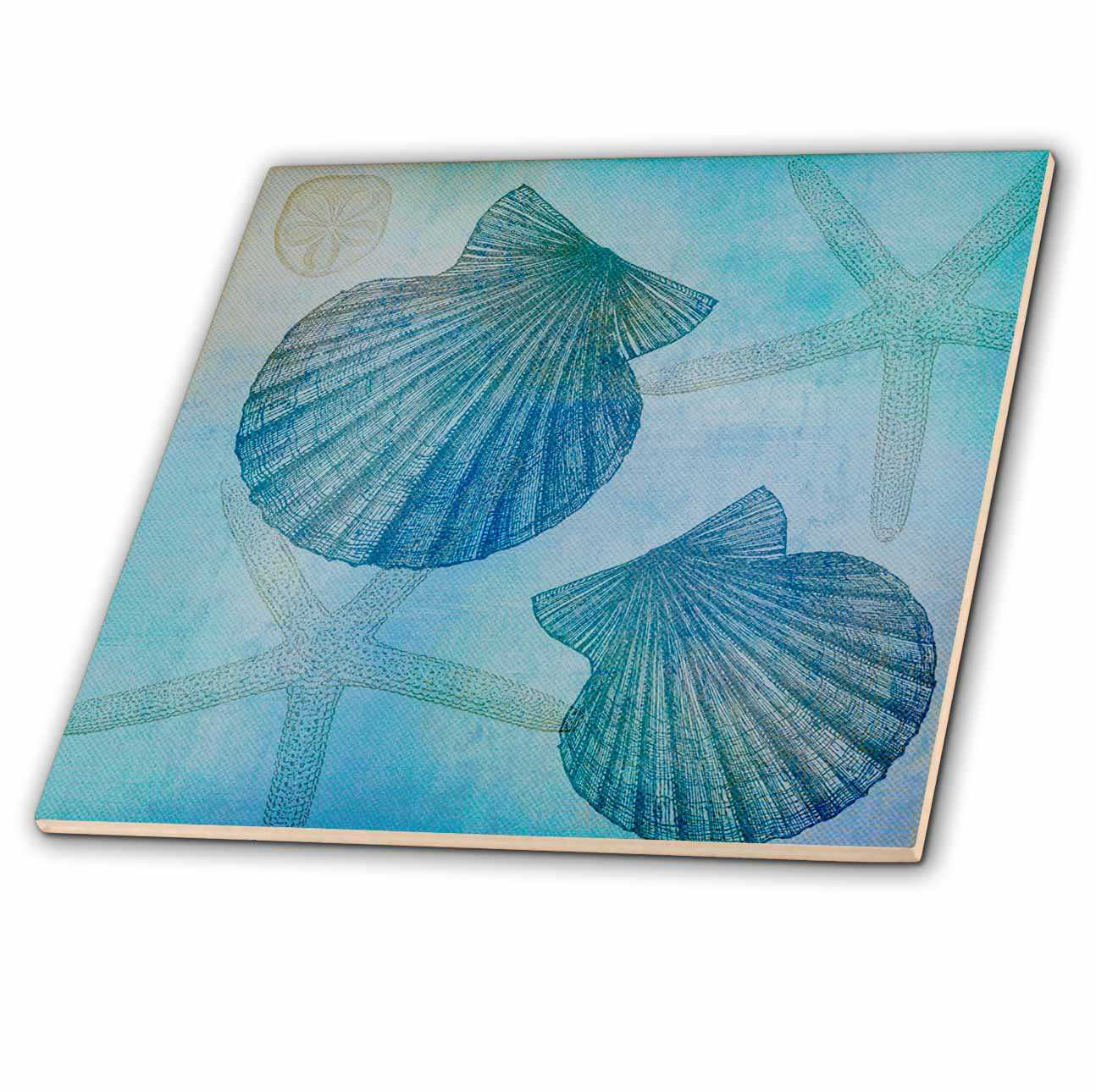 3dRose Aqua Shells and Starfish Beach Themed Art - Ceramic Tile, 4-inch