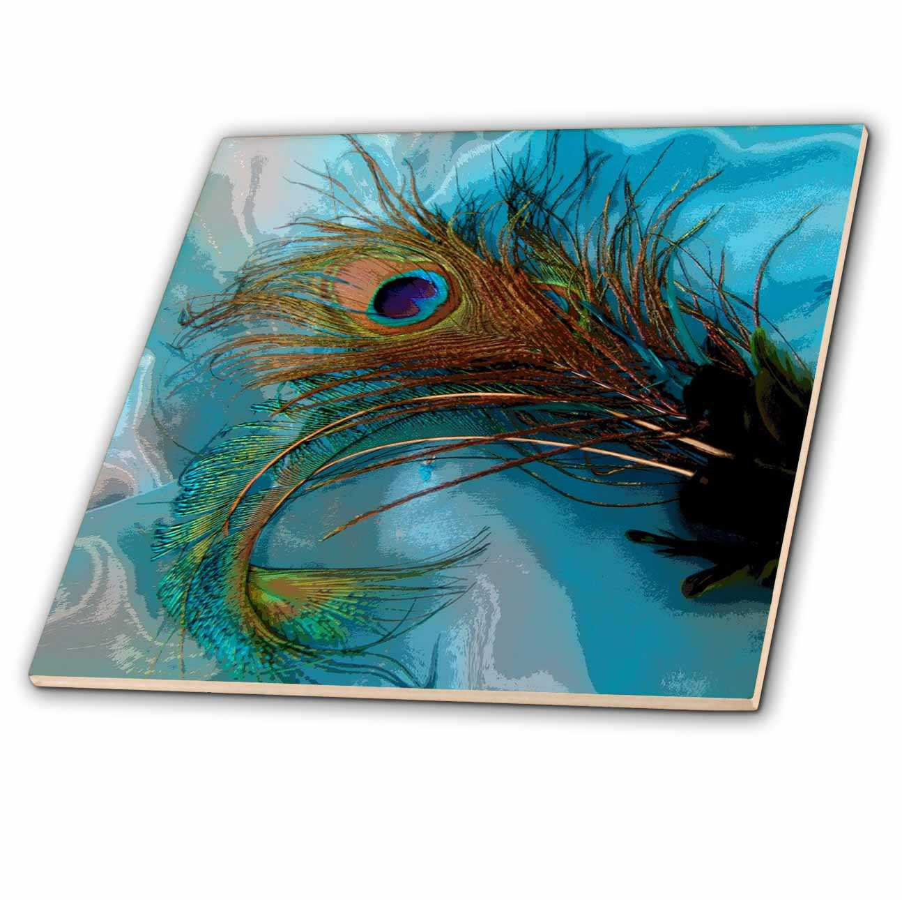3dRose Abstract Peacock Feather II - Ceramic Tile, 8-inch