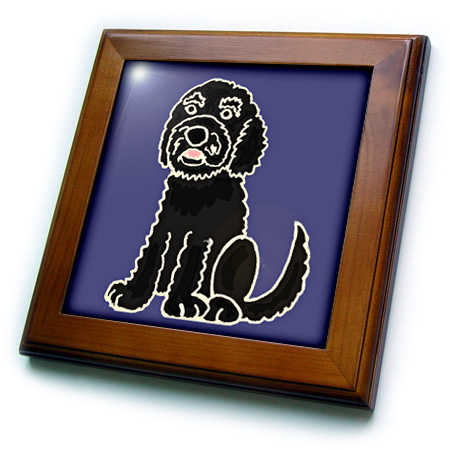 3dRose Funny Black Labradoodle Puppy Dog - Framed Tile, 6 by 6-inch