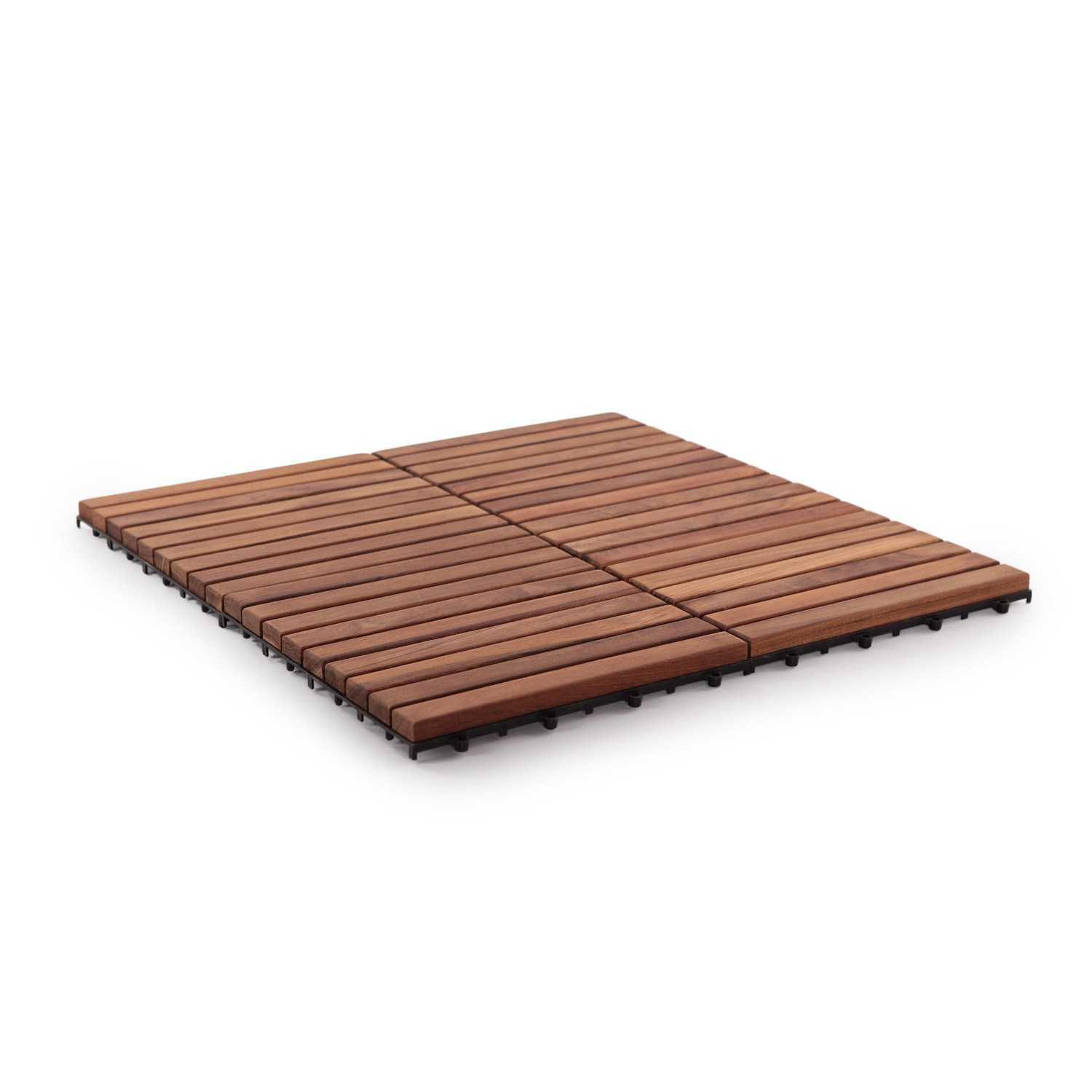 Nordic Style Oiled Teak Wood 9-slat Square Interlocking Tile Set (Pack of 10)