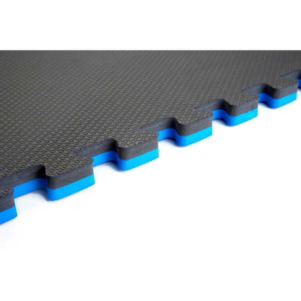 Norsk Blue/Black 24 in. x 24 in. EVA Foam Sport Multi-Purpose Reversible Interlocking Tile (32-Tile)